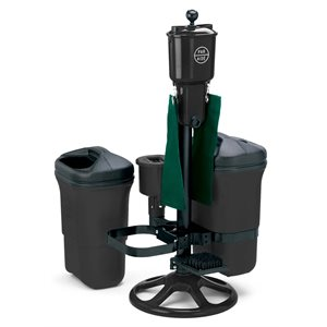 Deluxe Ball Washer Ensemble with Dbl Trash Mate., Spk Brush Club Washer & Bracket, Black